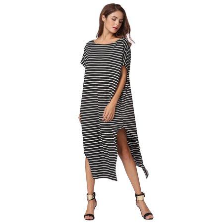 Nouvelles femmes lâche longue robe rayée manches chauve-souris off-épaule fente asymétrique Maxi Plus robe de taille - image 4 of 7