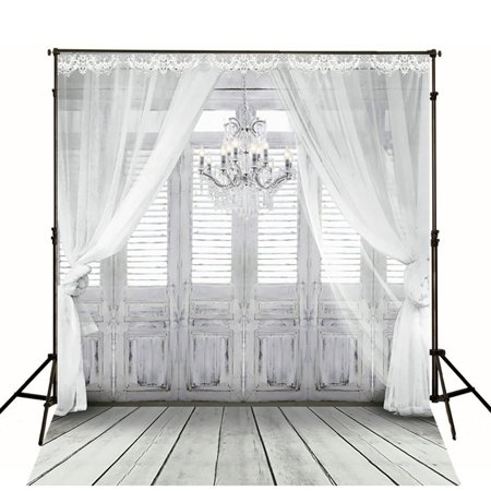 GreenDecor Polyster 5x7ft Retro Bedroom Photography Backdrops White Lace Curtain Photo Background Light Gray Wood Floor and Chandelier Backdrops for Studio Photo Props