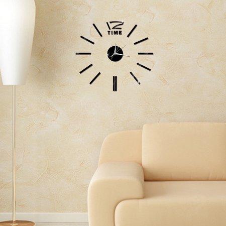 Modern DIY Wall Clock 3D Stirpes Analog Watch Clock Sticker Art Decal for Home Decor Color:Gold - image 3 de 8
