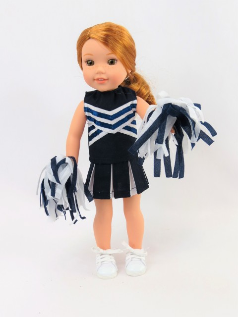 """Blue and Yellow Cheerleader Fits 14.5/"""" Wellie Wisher American Girl Doll Clothes"""