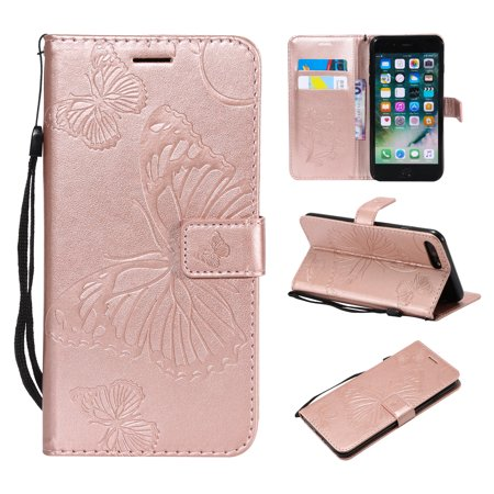 - iPhone 7 Plus/ 8 Plus Wallet case, Allytech Pretty Retro Embossed Butterfly Flower Design PU Leather Book Style Wallet Flip Case Cover for Apple iPhone 7 Plus and iPhone 8 Plus, Rosegold