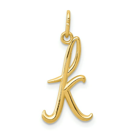 14k Initials Charm - 14k Yellow Gold Initial Monogram Name Letter Pendant Charm Necklace K Gifts For Women For Her