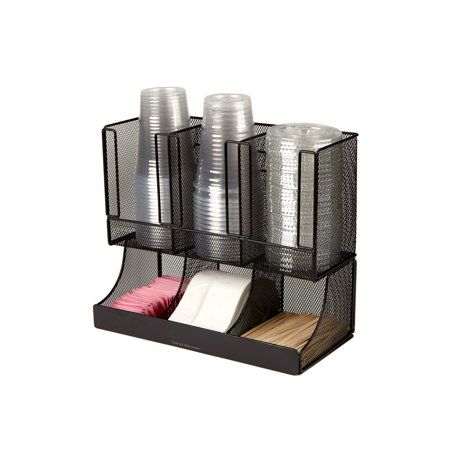 Cup Organizer (Mind Reader 'Flume' 6 Compartment Coffee Condiment and Cup Organizer, Black Metal Mesh)