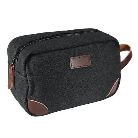 Portable Men's Travel Toiletry Organizer Bag Canvas Shaving Dopp Kit Bathroom Bag PU Leather Storage Bag Men Shave Kit