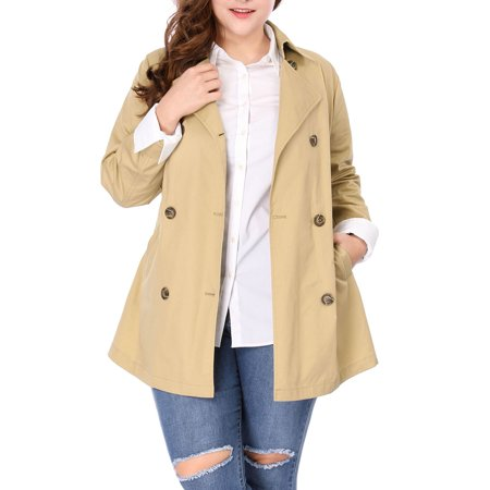 Women Plus Size Double-Breasted Long Sleeves Trench Coat with Belt Jacket Outerwear Khaki 3X ()