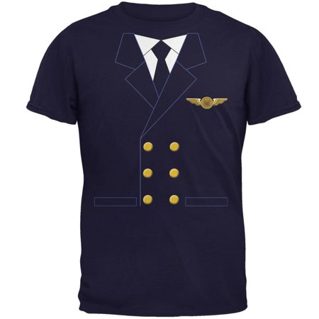 Halloween Airline Airplane Pilot Navy Adult T-Shirt