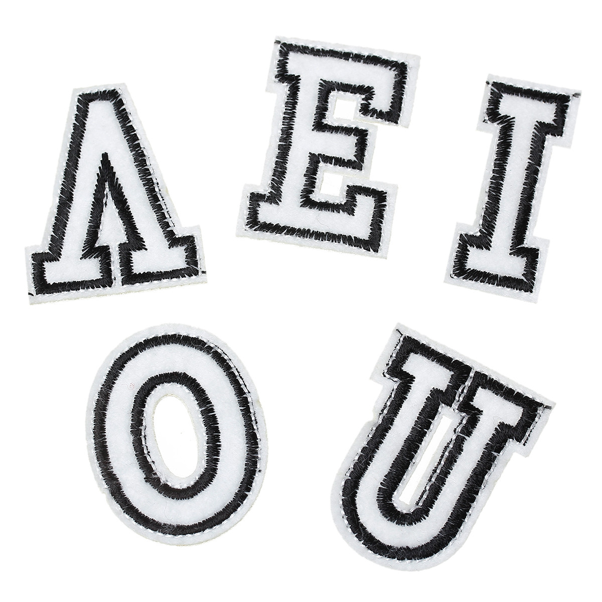 10 Pcs Black and White Alphabet Letters Embroidered Cloth Iron on Patches App...