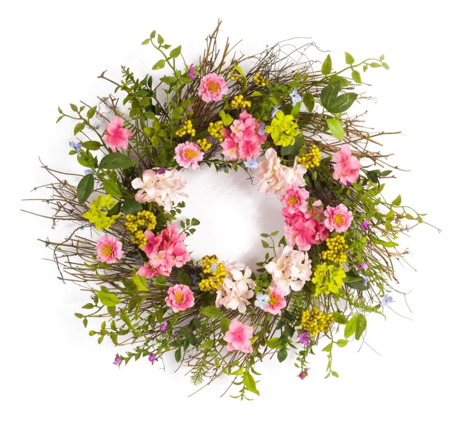 Green and Pink Hydrangea and Berry Artificial Floral Wreath - 26-Inch, Unlit
