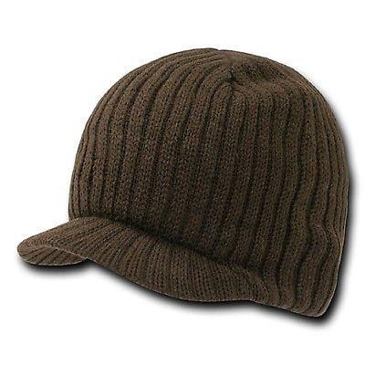 New Brown Solid Campus Visor Jeep Skull Knit Ski Winter Beanie Cap Caps Hat Hats ()