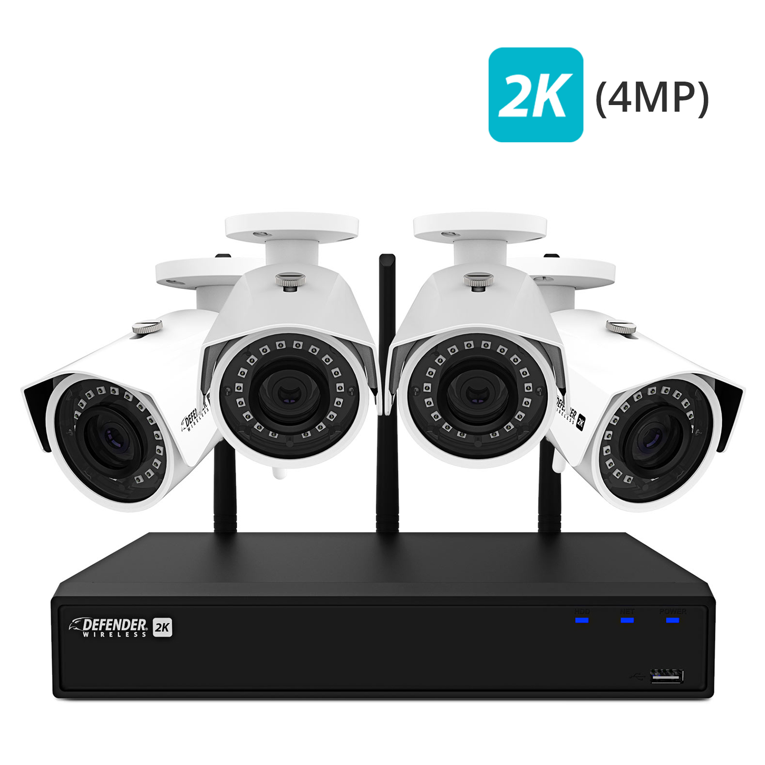 Defender 2K (4MP) Wireless 4 Channel 1TB NVR Security System with Remote Viewing, Motion Detection and 4 Wide Angle, Night Vision Wi-Fi Cameras