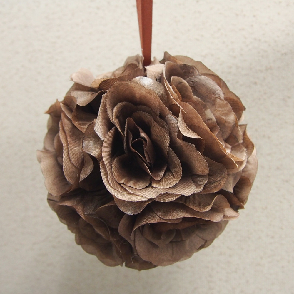 Silk Flower Kissing Balls Wedding Centerpiece, 6-Inch, Brown