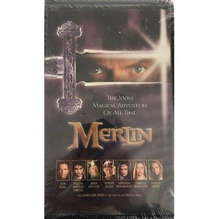 Merlin VHS Clamshell; Sam Neil, Helena Bonham Carter-RARE VINTAGE-SHIP N 24 - This Is Halloween 10 Hrs