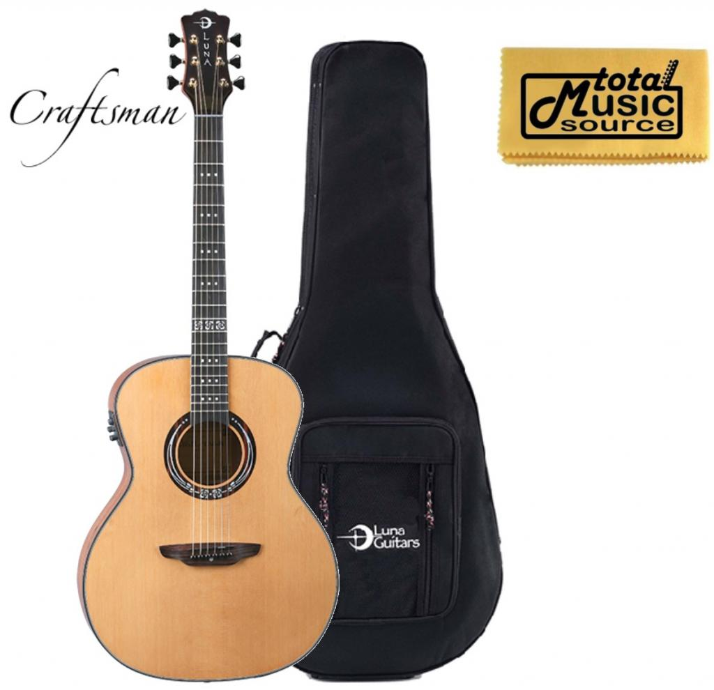 Luna Guitars Art Craftsman A/E Guitar, Solid Cedar Top, ART CRAFTSMAN LLDG
