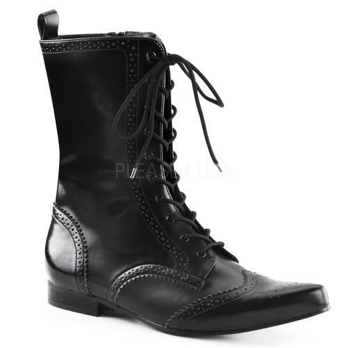 BRO10 B NPU Demonia Vegan Boots Unisex BLACK Size: 8 by