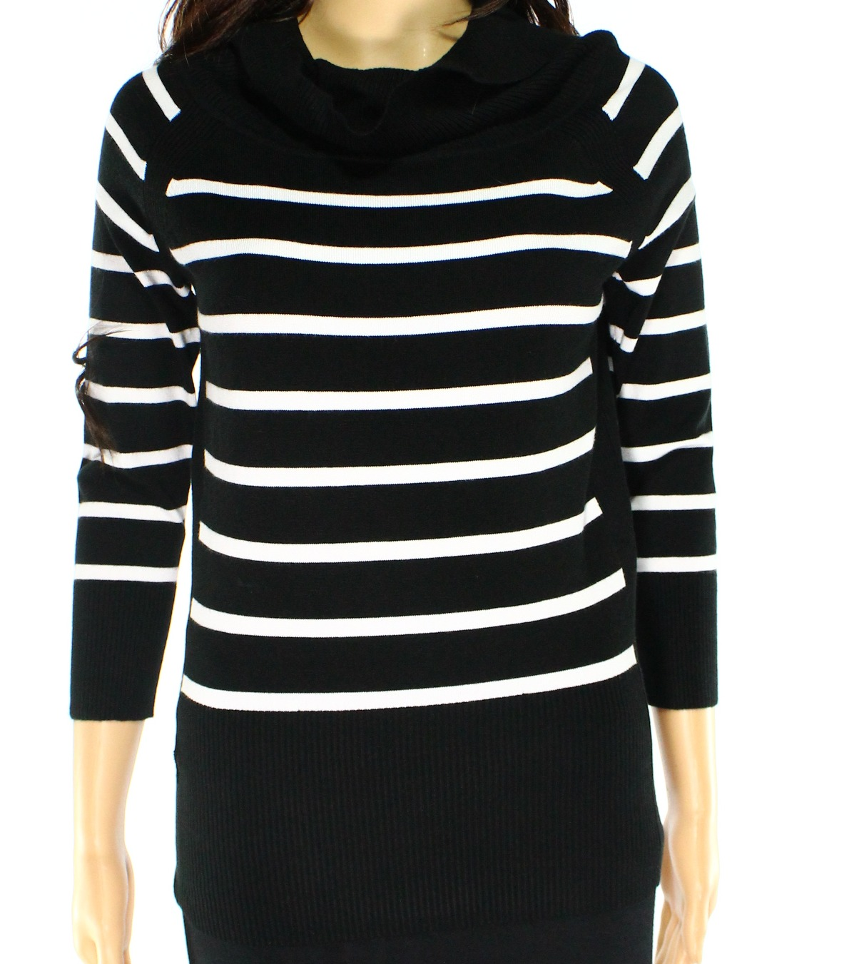 Premise Premise New Black White Striped Womens Medium M Cowl Neck