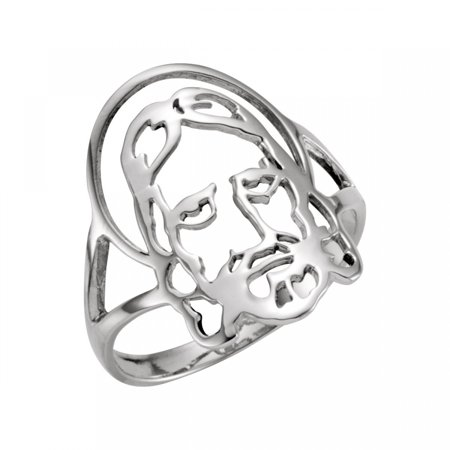 Face of Jesus Ring R16615 / Sterling Silver / Size 06.00 Ladies / Polished / Face Of Jesus Chastity Ring