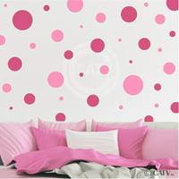 Assorted Vinyl Polka Dots circle wall decals vinyl stickers nursery decor (Pink & Dark Pink/set of 32)