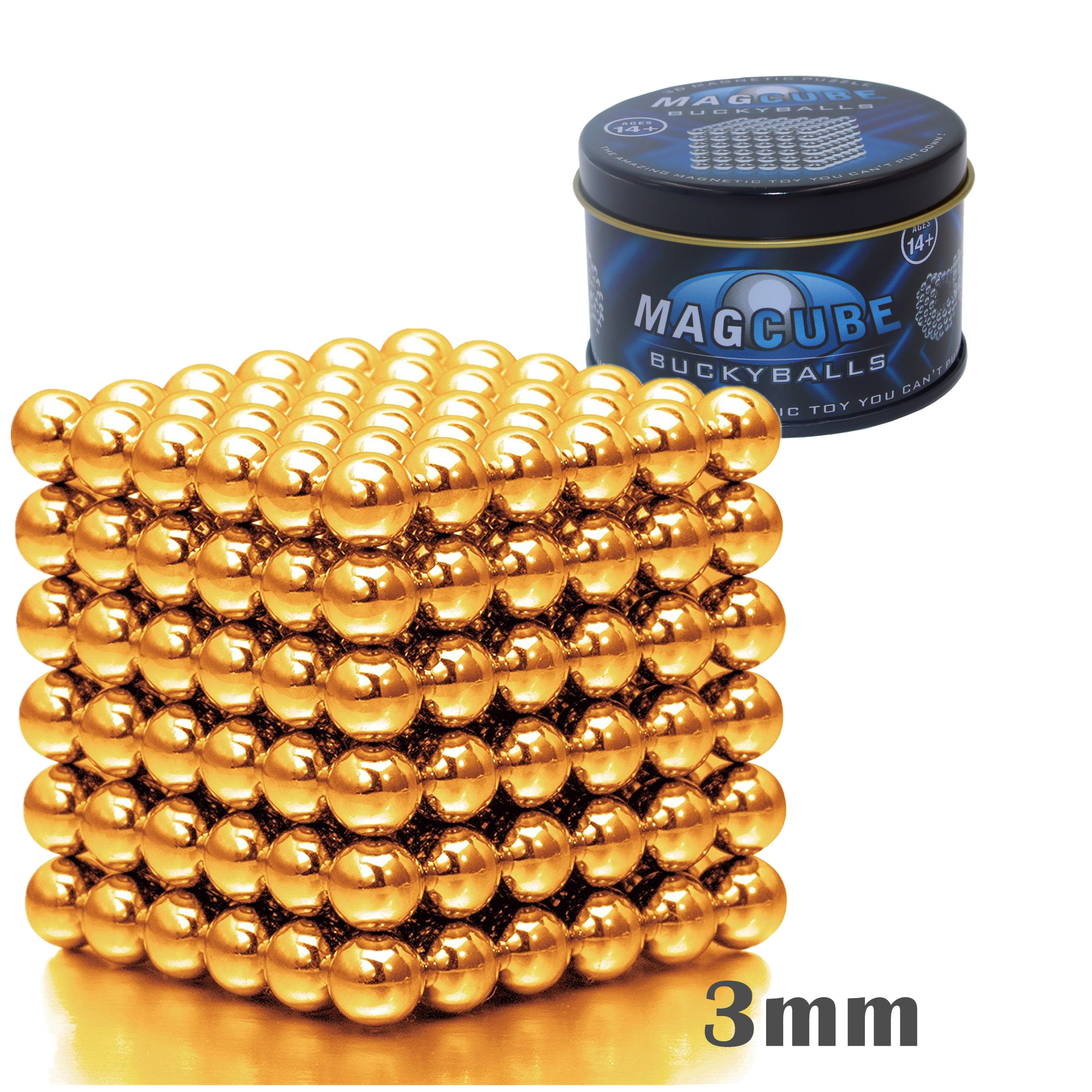 Golden Color Set of 216 pcs (3 mm) Magnetic Balls Beads, Round Buildable Rollable Magnets, Stress Relief Desk Office Toys, Multi-Use Craft & Refrigerator Magnets, Educational Building Blocks