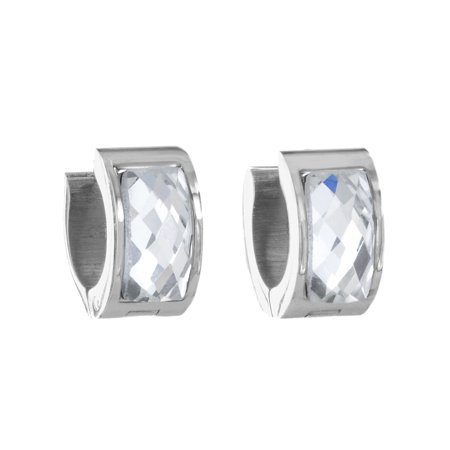 830d561e9 West Coast Jewelry - Polished Stainless Steel Clear Stone Cuff Hoop Earrings  - Walmart.com