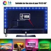 USB Powered RGB 5050 LED Strip Lighting for TV Computer Background Light, LED Strip Lights for 32-60 inch TV Backlight 16 Color RGB LED Bias Lighting Multi Color for HDTV PC Monitor