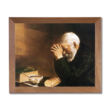 Daily Bread Man Prays Table Grace Religious Wall Picture Honey Frame Art - Breed Wall