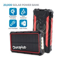 DuraHub - Solar Power USB Battery Bank with QI Wireless, True 20000mAh Ultra Capacity  Super Rugged, Portable, Waterproof - 4 Charge Ports + LED Light  Great for Camping/Hiking/Traveling/Outdoor