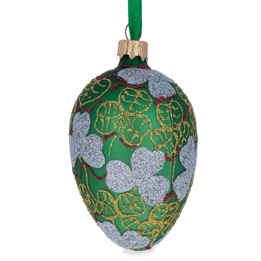 "3.5"" Clover Leaf Faberge Egg Glass Christmas Ornament"