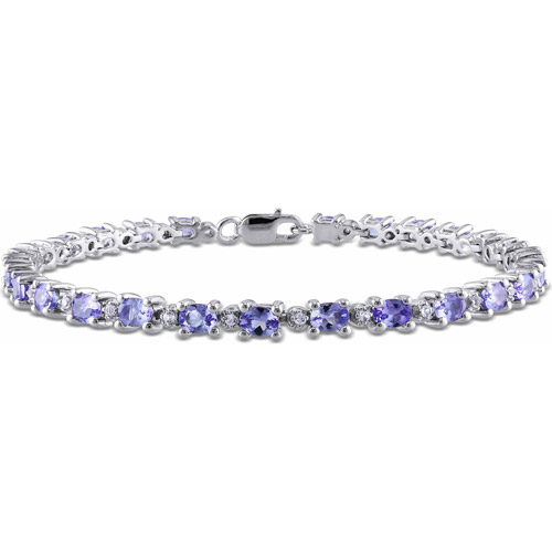 "4-2 5 Carat T.G.W. Oval and Round-Cut Tanzanite and White Topaz Sterling Silver Tennis Bracelet, 7"" by Delmar Manufacturing LLC"