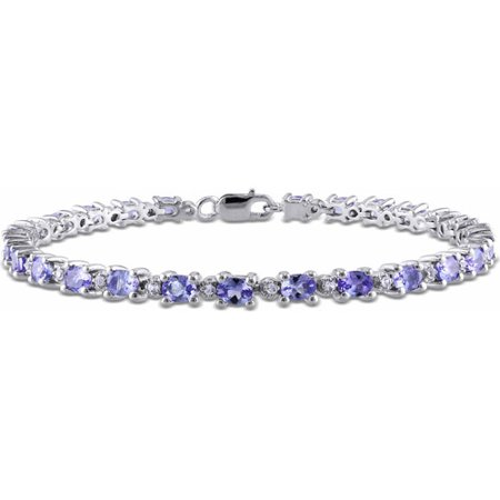 - 4-2/5 Carat T.G.W. Oval and Round-Cut Tanzanite and White Topaz Sterling Silver Tennis Bracelet, 7