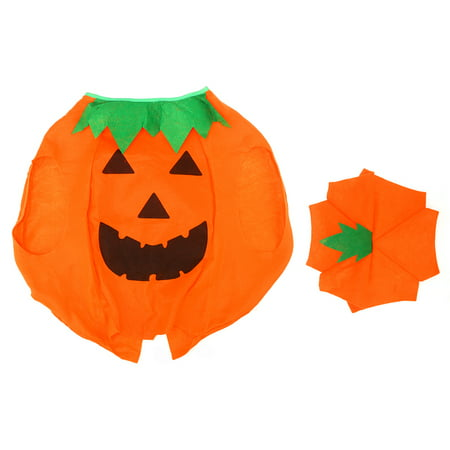 Funny Kids Children's Halloween Lantern Face Pumpkin Non-woven Costume Shirt Clothes with Beanie Hat (Orange)