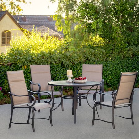 Mathis 5 piece patio dining room set seats 4 at garden for Outdoor dining room sets