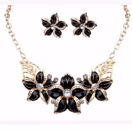 Flower Necklace And Earring Set Black and Gold Flower with Crystal Tarnish Resistant, J-10