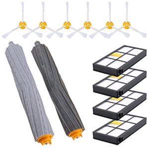 KEEPOW Replacement Parts for Roomba 980 900 890 880 870 860 800 Robotic Vacuum Cleaner (6pcs side brushes+4pcs Filters+1 set Tangle-Free Debris Extractor)