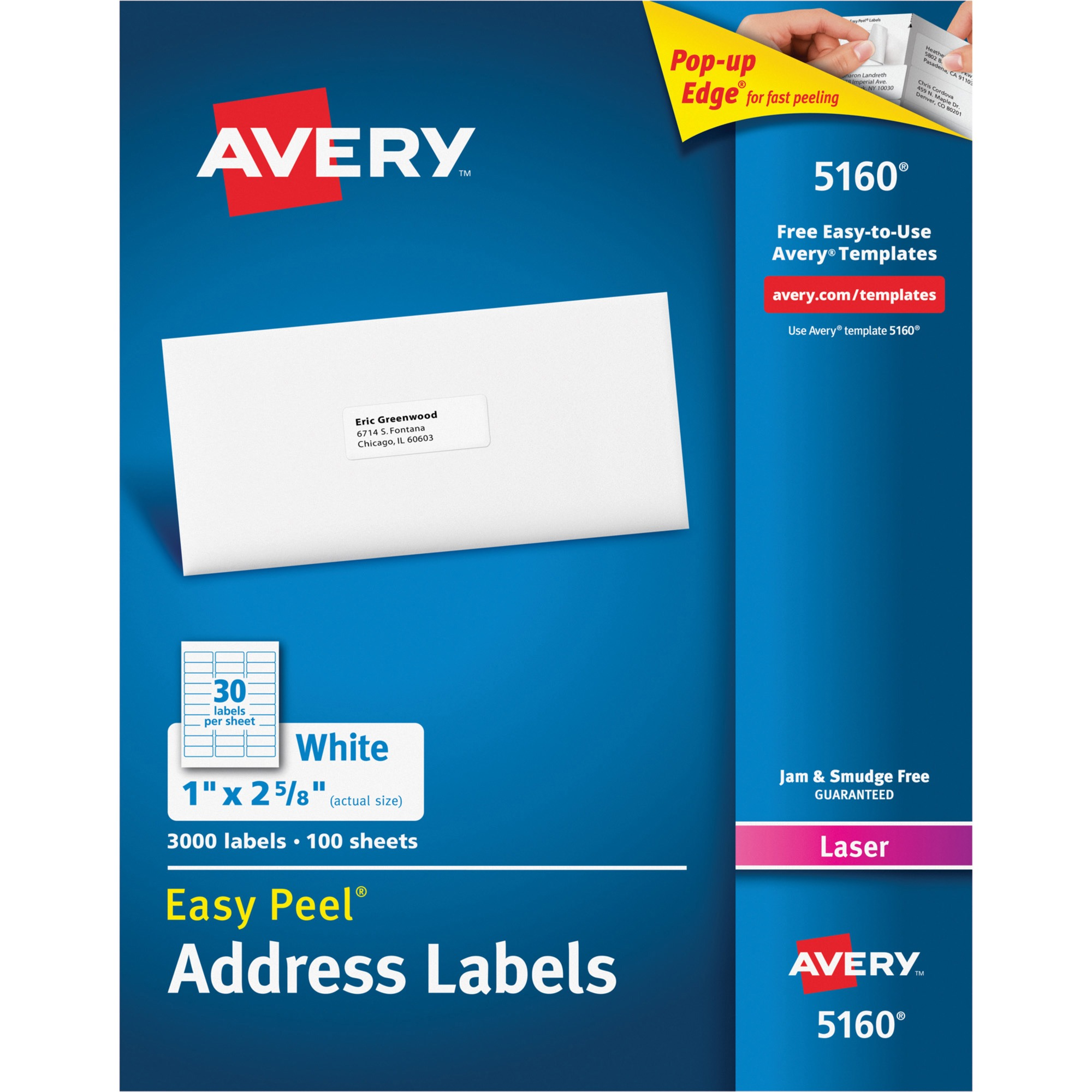 Avery Easy Peel Mailing Address Labels, Laser, 1 x 2 5/8, White, 3000/Box