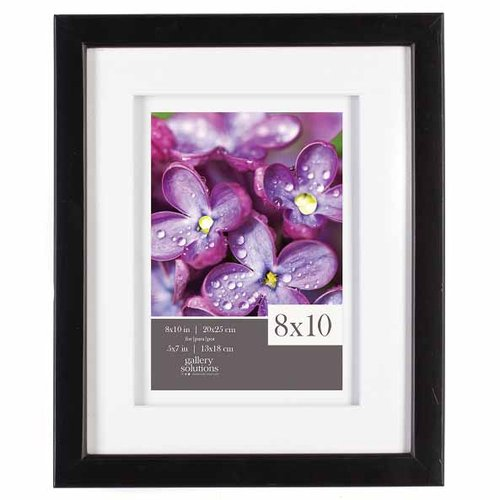 GALLERY SOLUTIONS 8X10 BLACK FRAME, DOUBLE MATTED TO 5X7