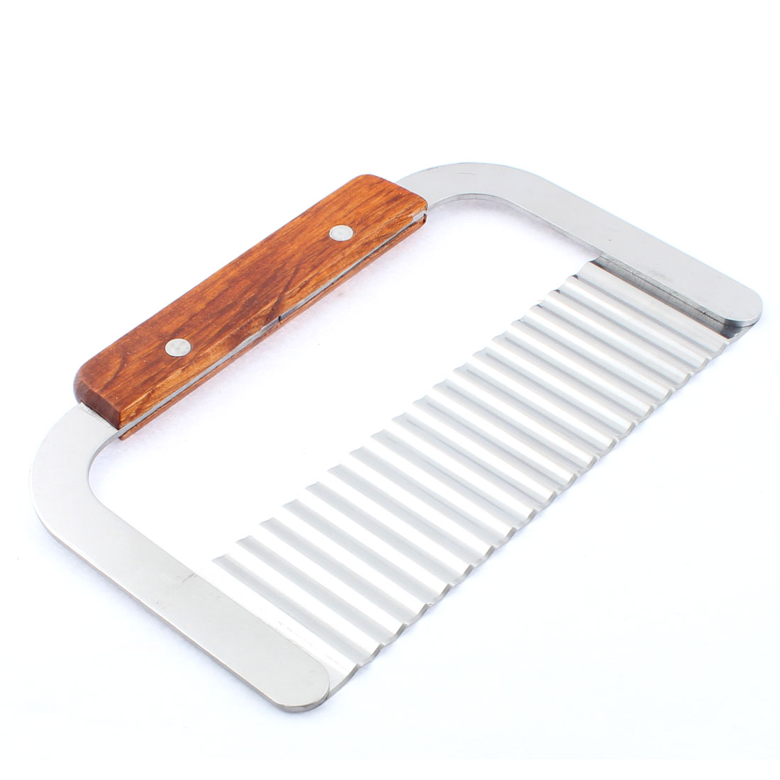 18.5cm Long Wooden Handle Potato Chip Dough Vegetable Wave Slicer Crinkle Cutter by