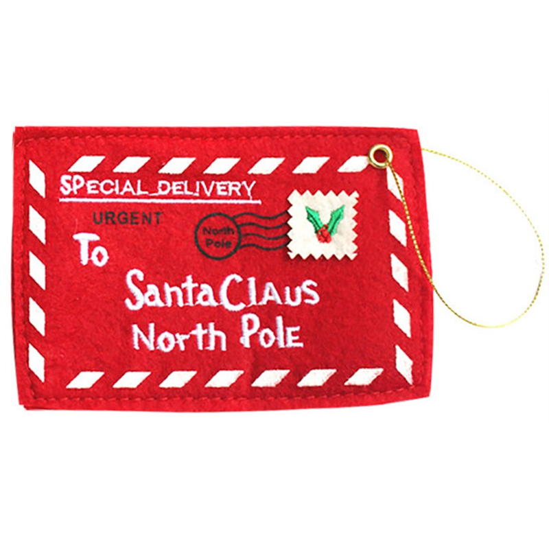 Letter to Santa Claus Red Envelope Candy Gift Bag Embroidery Holiday Christmas Ornament Decor