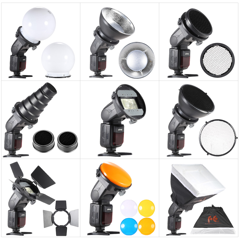 Universal Adapter Mount//Barndoor//Snoot//Honeycomb//Standard Reflector//Honeycomb for Soft-Reflector//Diffuser Ball//Color Gel//Softbo MEETBM ZIMO,Falcon Eyes SG-100 Speedlite Accessories-kit