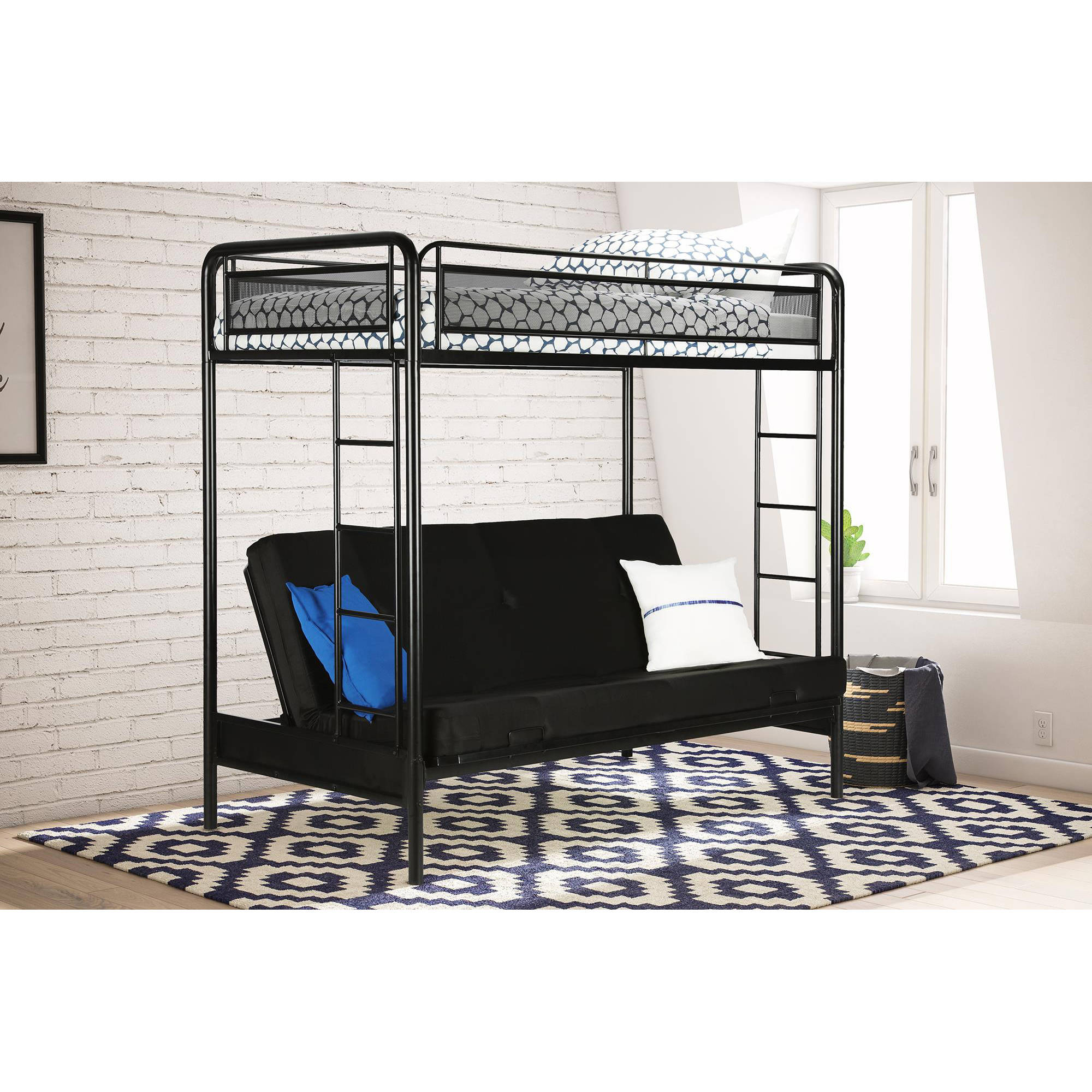 dhp rockstar twin over futon metal bunk bed multiple colors