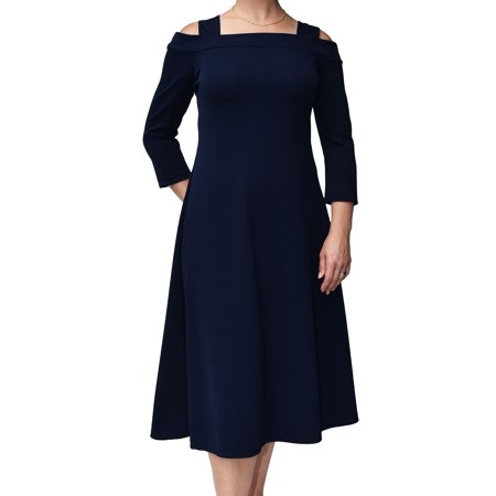 Moraea Womens Liverpool Cold Shoulder Midi Dress (Navy XL) - Fancy Dress Halloween Liverpool