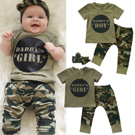 Toddler Girls Camouflage Shirt - Cute Newborn Baby Boys Girls Short Sleeve Camo T-shirt Tops Pants Outfits Set Clothes