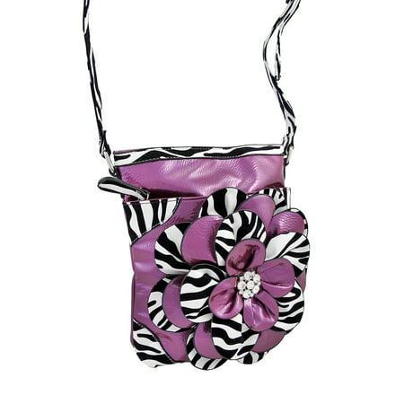 Zeckos - Crossbody Purse with Black / White Zebra Trim - Purple - Size Small