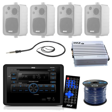 Pyle Plrvst300 Rv Wall Mount Bluetooth Cd Dvd Receiver Bundle Combo With 4X Enrock White 4 200 Watt Waterproof Stereo Box Speaker   Radio Antenna   400 Watt Amplifier   18G 50 Ft Wire