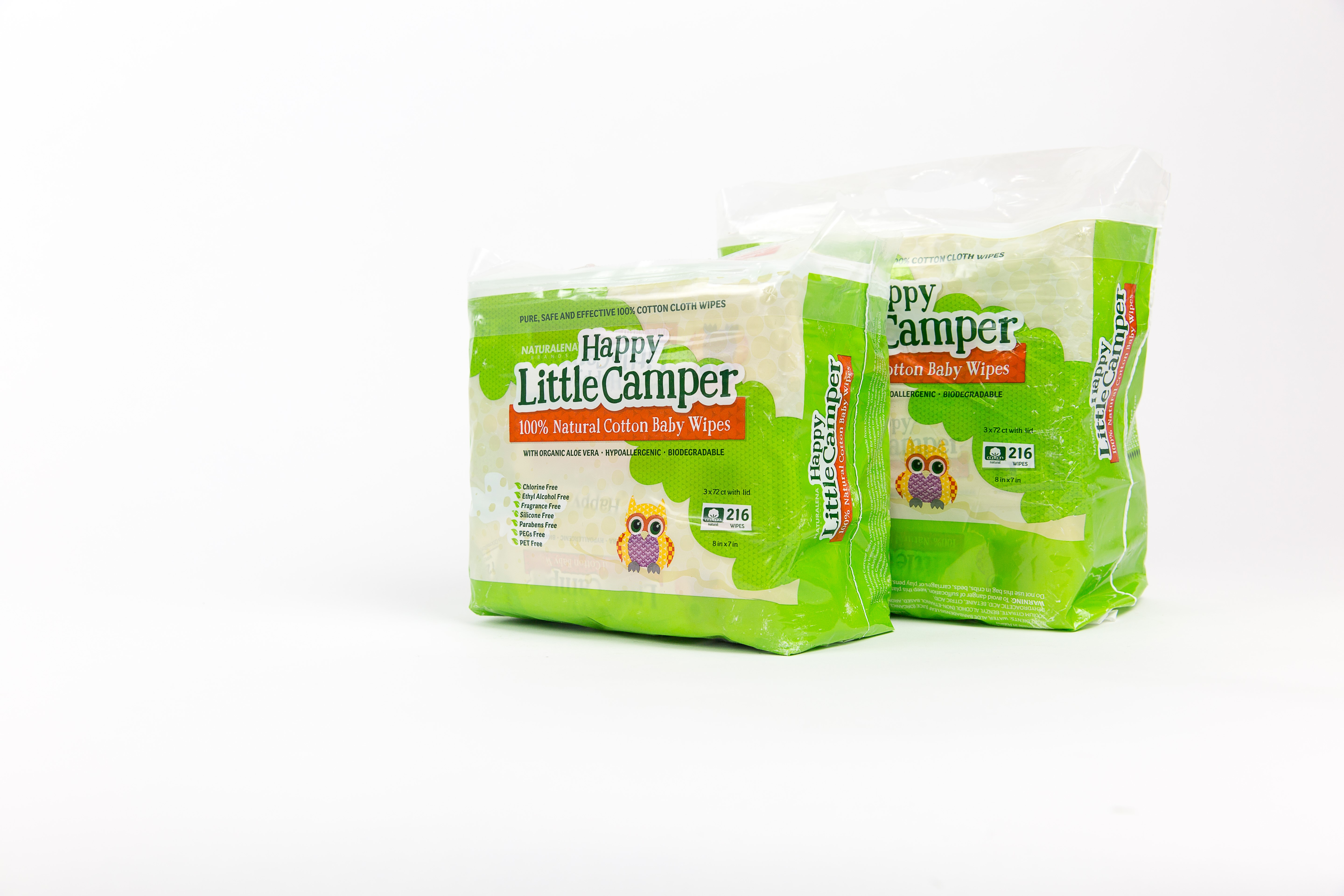 216 Ct Happy Little Camper Baby Wipes Natural All-Cotton with Organic Aloe