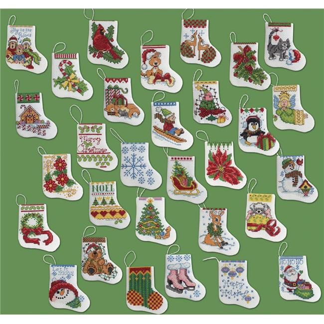 2.5 x 3 in. 14 Count More Tiny Stockings Ornaments Counted Cross Stitch Kit - Set of 30
