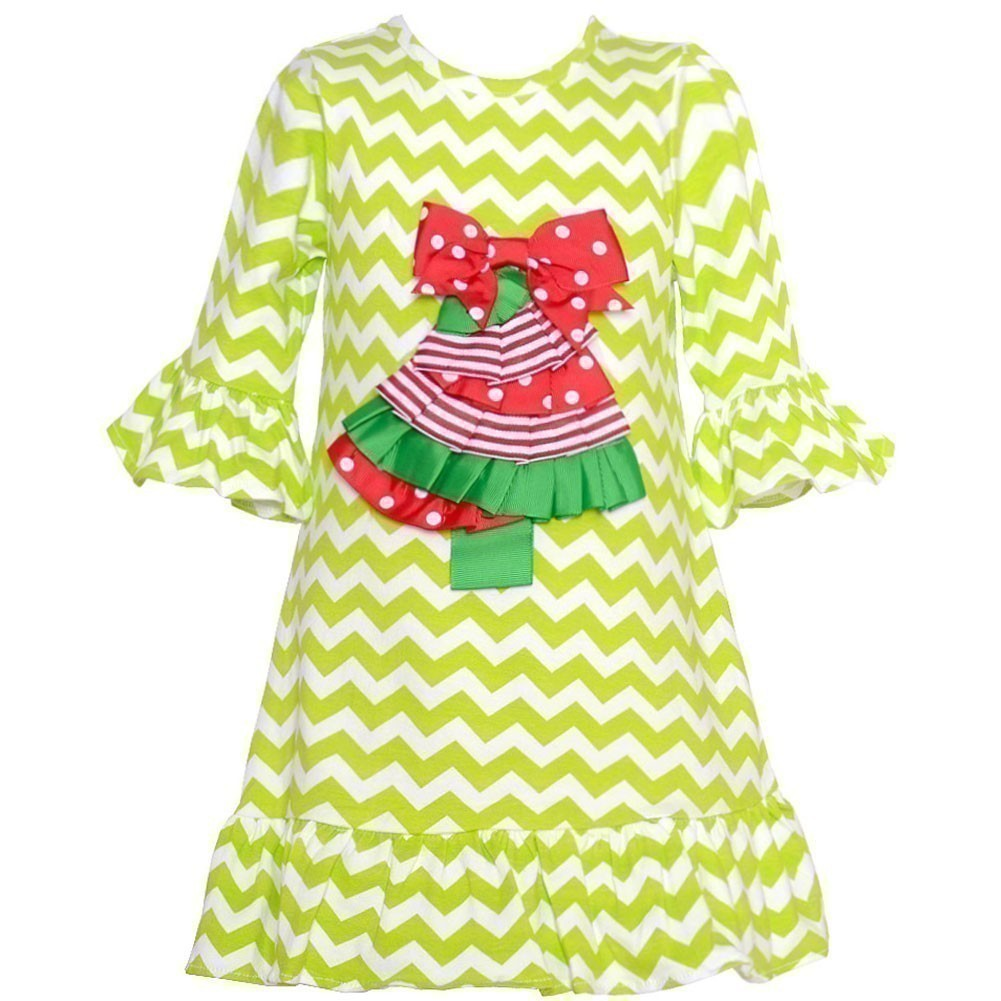 Counting Daisies Little Girls Lime Chevron Tree Applique Dress 2T