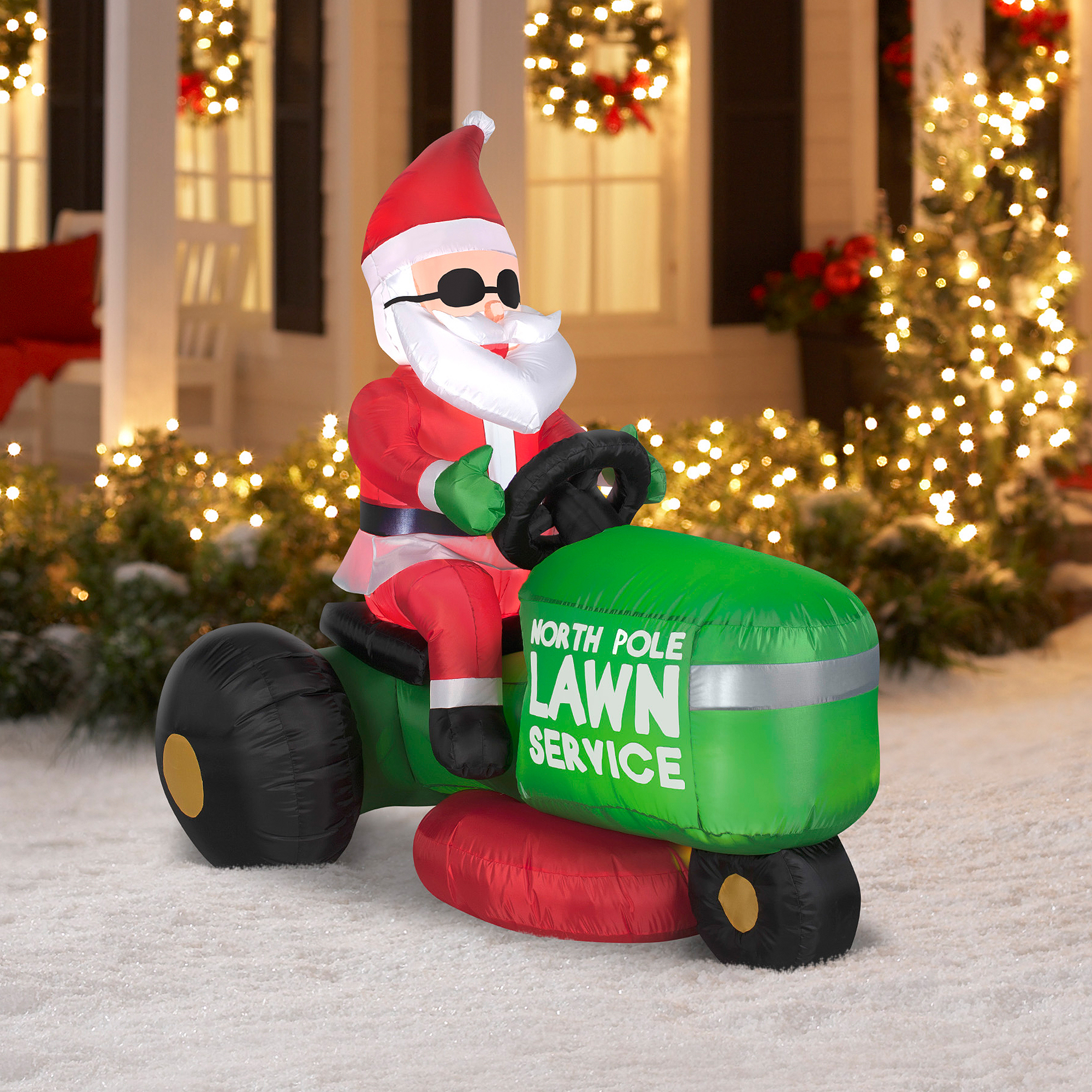 Airblown Inflatable 5' Lawnmowing Santa Christmas Prop