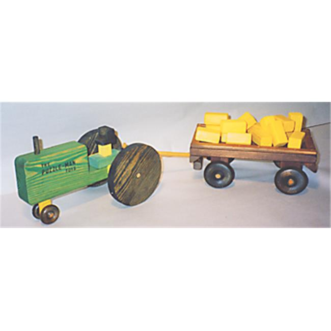 THE PUZZLE-MAN TOYS W-2082 Wooden Play Farm Series - Accessories Special - Tractor + Wagon + (16) Bales of Straw
