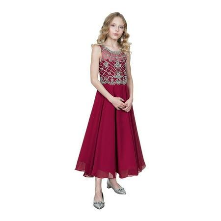 Girls Burgundy Jeweled Bodice Chiffon Long Junior Bridesmaid Dress