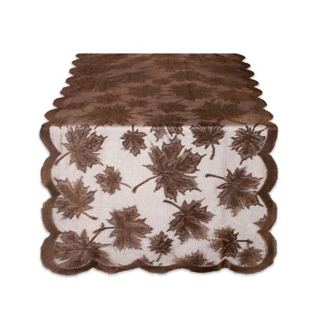 Design Imports Lace Maple Leaf Table Runner - Brown - 18 X - Autumn Leaves Table Runner